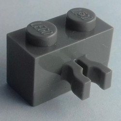 Dark Bluish Gray Brick, Modified 1 x 2 with Clip (Vertical Grip) - used
