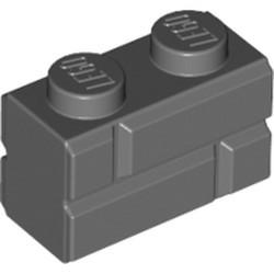 Dark Bluish Gray Brick, Modified 1 x 2 with Masonry Profile (Brick Profile) - used