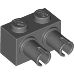 Dark Bluish Gray Brick, Modified 1 x 2 with Pins