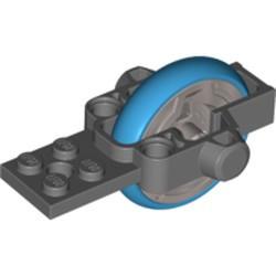 Dark Bluish Gray Flywheel Plate 2 x 8 with Metal Flywheel and Dark Azure Tire (Chima Speedorz Rip Cord Base) - used