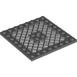 Dark Bluish Gray Plate, Modified 8 x 8 with Grille and Hole in Center - new
