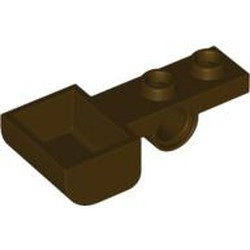 Dark Brown Plate, Modified 1 x 2 with Pin Hole and Bucket (Catapult) - new
