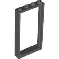 Dark Gray Door, Frame 1 x 4 x 6 with Four Holes on Top and Bottom