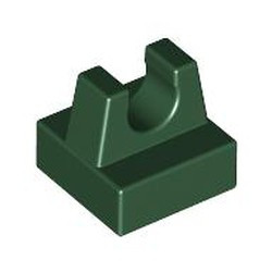 Dark Green Tile, Modified 1 x 1 with Clip - used