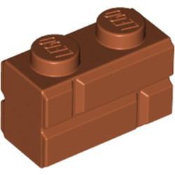 Dark Orange Brick, Modified 1 x 2 with Masonry Profile