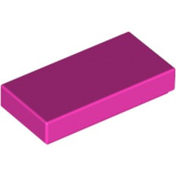 Dark Pink Tile 1 x 2 with Groove - used