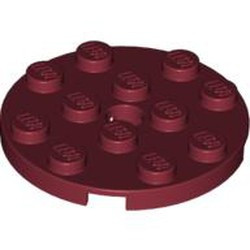 Dark Red Plate, Round 4 x 4 with Hole - new