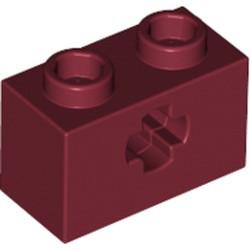Dark Red Technic, Brick 1 x 2 with Axle Hole - used