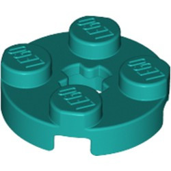 Dark Turquoise Plate, Round 2 x 2 with Axle Hole - new