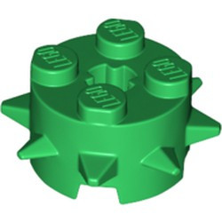 Green Brick, Round 2 x 2 with Spikes and Axle Hole