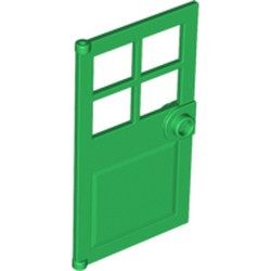 Green Door 1 x 4 x 6 with 4 Panes and Stud Handle - used