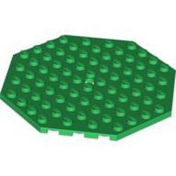 Green Plate, Modified 10 x 10 Octagonal with Hole - used