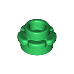 Green Plate, Round 1 x 1 with Flower Edge (5 Petals) - new