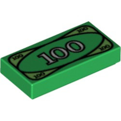 Green Tile 1 x 2 with Groove with 100 Dollar Bill Money Pattern - new