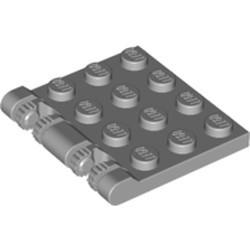 Light Bluish Gray Hinge Plate 3 x 4 Locking Dual 2 Finger, 9 Teeth - used