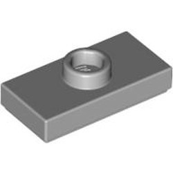 Light Bluish Gray Plate, Modified 1 x 2 with 1 Stud without Groove (Jumper) - used
