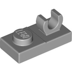Light Bluish Gray Plate, Modified 1 x 2 with Open O Clip on Top