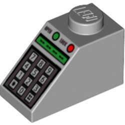 Light Bluish Gray Slope 45 2 x 1 with Green and Red Buttons and Keypad Pattern