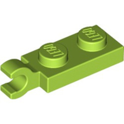 Lime Plate, Modified 1 x 2 with Clip on End (Horizontal Grip) - used