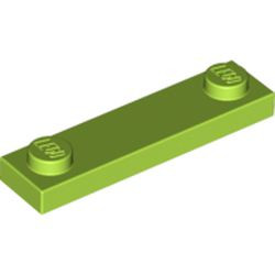 Lime Plate, Modified 1 x 4 with 2 Studs without Groove