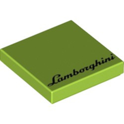 Lime Tile 2 x 2 with Groove with 'Lamborghini' Pattern