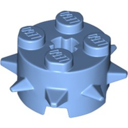 Medium Blue Brick, Round 2 x 2 with Spikes and Axle Hole