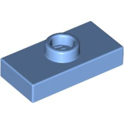 Medium Blue Plate, Modified 1 x 2 with 1 Stud without Groove (Jumper) - used