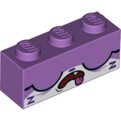 Medium Lavender Brick 1 x 3 with Cat Face Wide Closed Eyes, Open Mouth with Tongue Hanging Out, and 2 Purple 'Z's Pattern (Sleepy Unikitty) - new