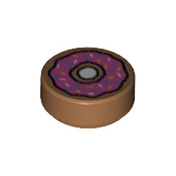 Medium Nougat Tile, Round 1 x 1 with Doughnut with Dark Pink Frosting and Sprinkles Pattern - new