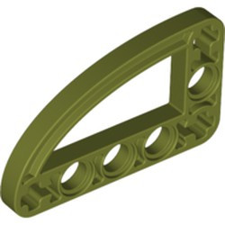 Olive Green Technic, Liftarm 3 x 5 L-Shape with Quarter Ellipse Thin - new