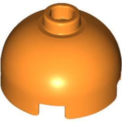Orange Brick, Round 2 x 2 Dome Top - Hollow Stud with Bottom Axle Holder x Shape + Orientation