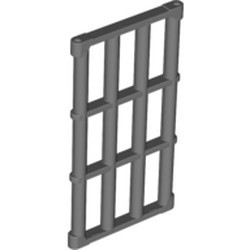 Pearl Dark Gray Bar 1 x 4 x 6 Grille with End Protrusions