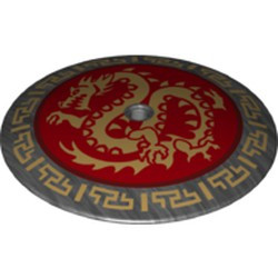 Pearl Dark Gray Dish 9 x 9 Inverted (Radar) with Gold Dragon on Red Medallion Pattern - used