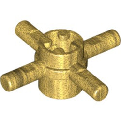 Pearl Gold Technic, Axle Connector Hub with 4 Bars and Pin Hole