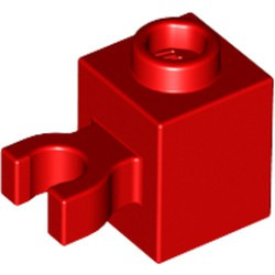 Red Brick, Modified 1 x 1 with Open O Clip (Vertical Grip) - new - Hollow Stud