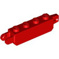 Red Hinge Brick 1 x 4 Locking, 9 Teeth with 1 Finger Vertical End and 2 Fingers Vertical End, 9 Teeth - used