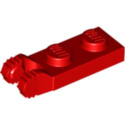 Red Hinge Plate 1 x 2 Locking with 2 Fingers on End and 7 Teeth without Bottom Groove