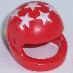 Red Minifigure, Headgear Helmet Motorcycle with 7 White Stars Pattern - used