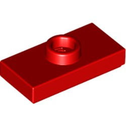 Red Plate, Modified 1 x 2 with 1 Stud with Groove and Bottom Stud Holder (Jumper) - used