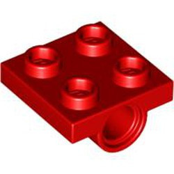 Red Plate, Modified 2 x 2 with Pin Hole - new