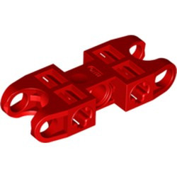 Red Technic, Axle and Pin Connector 2 x 5 with 2 Ball Joint Sockets, Open Sides