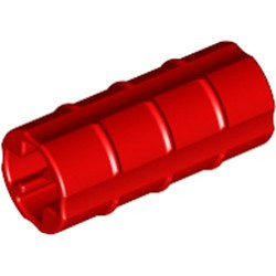 Red Technic, Axle Connector 2L (Ridged with x Hole x Orientation) - used