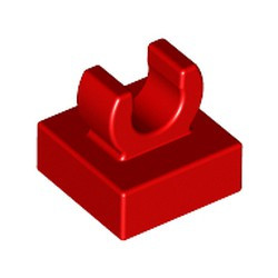 Red Tile, Modified 1 x 1 with Open O Clip - new