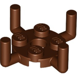 Reddish Brown Plate, Round 2 x 2 with Pin Hole and 4 Arms Up - new