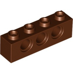 Reddish Brown Technic, Brick 1 x 4 with Holes - new
