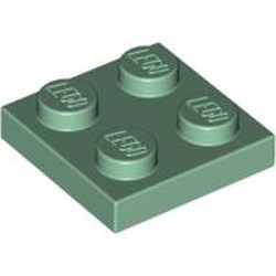Sand Green Plate 2 x 2 - new