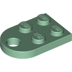 Sand Green Plate, Modified 2 x 3 with Hole