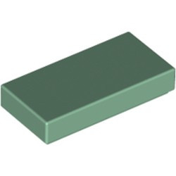 Sand Green Tile 1 x 2 with Groove - new