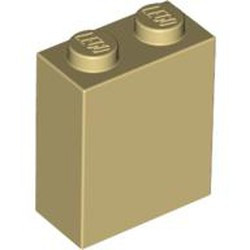 Tan Brick 1 x 2 x 2 with Inside Stud Holder - new