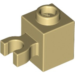 Tan Brick, Modified 1 x 1 with Open O Clip (Vertical Grip) - new - Hollow Stud
